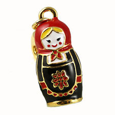 Blonde Russian Doll Matrioshka in Black Bracelet Charm