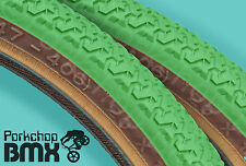 "Kenda K55 freestyle old school BMX skinwall gumwall tires PAIR 20"" X 1.75"" GREEN"