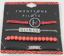 New 21 Twenty One Pilots Band Clique ID Bracelet Set 4 Pack Arm Party Logo Charm
