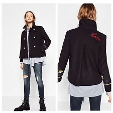 NEW ZARA NAVY BLUE WOOL JACKET WITH PATCH DETAIL MILITIRY S EMBROIDERED RRP £60