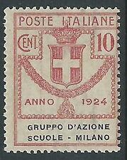 1924 REGNO PARASTATALI SCUOLE MILANO 10 CENT MNH ** - Y135