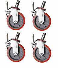 "Set 4 Scaffolding Casters 8""x 2"" Heavy Duty 750lbs PU Caster Wheel W/ Lock Brake"