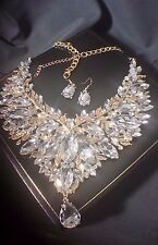 Chunky Statement Wedding Bridal Rhinestone Gold Bib Crystal Drape Necklace Set