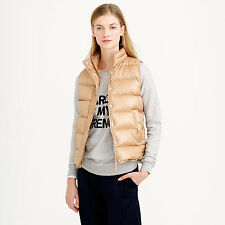 NWT J.Crew Shiny Puffer Down Ski Vest in Gold, Size Small
