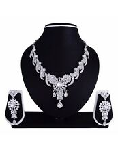 Indian Bridal Dress Gown Silver Rodium Plated Diamond Necklace Earrings Jewelry
