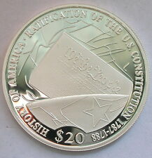 Liberia 2006 Constitution 20 Dollars Silver Coin,Proof