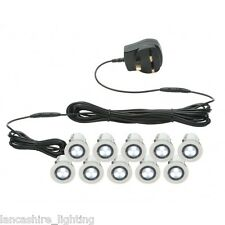 10 x 30mm Recessed White LED Decking Lights/ Plinth Lights/ Bathroom Lights IP44