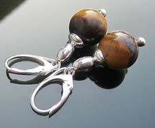 Gemstone Tiger Eye Beads 925 Sterling Silver Earrings Leverback 925 silver beads