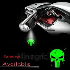 Punisher Skull Green Car Door Welcome Projector Ghost Shadow Laser LED Light 2x