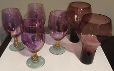 Purple Amber Blue Amethyst  6 piece Glass Wine Beverage Set