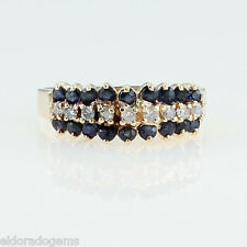 LADY'S 0.75 CT. SAPPHIRE & DIAMOND COCKTAIL RING 14K YELLOW GOLD SIZE US6