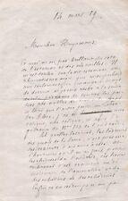 GONCOURTLETTRE AUTOGRAPHE SIGNÉE À J.-K. HUYSMANS DU18 MARS 1889