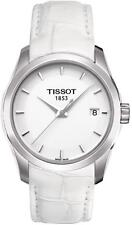 Tissot 'Couturier' White Dial White Leather Strap Ladies Watch T0352101601100