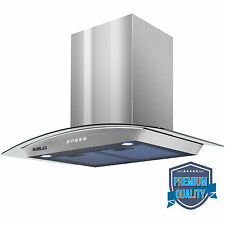 """30"""" LED Stainless Steel Wall Mount Range Hood Stove Vent Fan Touch Panel Kitchen"""