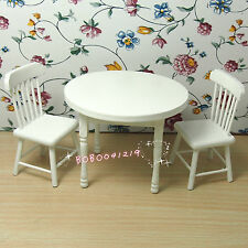 Dollhouse Miniature 1:12 Living Room Wooden White Round Table And 2 Chairs M43