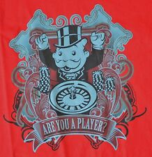 Are you a PLAYER? Official MONOPOLY Mr Penny Bags Casino Promo Size XL T-Shirt