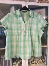 #56 F&F Plus Sz 22 Mint&White Check 100% Cotton Shirt Top