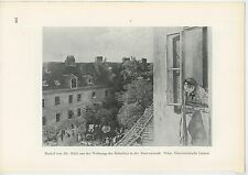 ANTIQUE VEINNA HIGH APARTMENT VIEW OF WOMEN WASHING CLOTHES WASHERWOMAN PRINT
