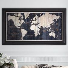 Framed Gallery Wrapped Canvas Painting Graphic Wall Art Sculpture Old World Map