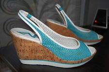 Anne Klein Sport Turquoise Perforated Wedge Cork Platform Sandals Size 7.5M