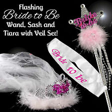 BRIDE TO BE FLASHING TIARA WITH VEIL, SASH & WAND SET - Hen Night Accessories