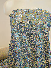 """SEWN ON SEQUIN STRETCH NUDE MESH WITH BLUE/GOLD SEQUINS 52"""" FORMAL PAGEANT DANCE"""