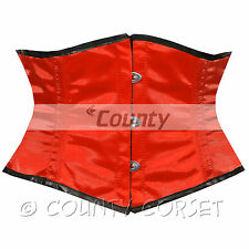 Cincher Mini Waspie Shaper Full Steel Boned Waistbust Red Satin Corset Korsett