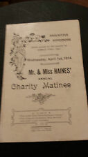 1914 Manchester Hippodrome - Mr & Mrs HAINES' Annual Charity Matinee
