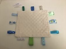 Handmade baby sensory ribbon Taggie/blanket Shannon dimple fabric *Personalised*