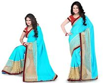 Bhaviak Exim' Self Designer Embroidery Saree With Blouse Piece