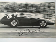 Tony Brooks SIGNED B&W Postcard Vanwall  Goodwood 1960