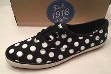 KEDS Champion Polka Dot Black & White Women's Oxford Flat Shoe Size 10 M NEW $50