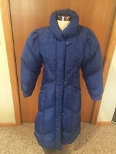 Vintage J Gallery XS Bright Blue Duck Down Feather Puffy Mid Calf Coat J137