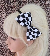 "BLACK WHITE RACING CHECK MOD CHESS COTTON FABRIC 5""SIDE BOW ALICE HAIR HEAD BAND"