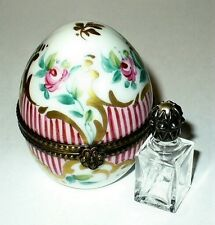 LIMOGES BOX ~ FLORAL EGG & 'JEWELED' PERFUME BOTTLE ~ROSES & STRIPES~ PEINT MAIN