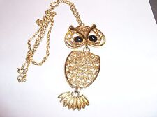 Vintage Mod Sarah Coventry Gold Filigree Large Articulated Owl Pendant Necklace