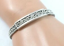 Vintage Lois Hill Sterling Silver Woven Rope Bracelet w/ Paisley Accent
