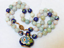 CHINESE VINTAGE NATURAL JADE &CLOISONNE BEADS NECKLACE PENDANT, SILVER CLSAP