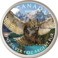 2015 Canadian 1 oz 0.9999 Silver Horned Owl Colourized Coin Birds of Prey Series