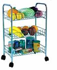 3Tier Kitchen Trolley On Wheel Vegetable Fruit Cart Basket Unit Shelf Rack Stand
