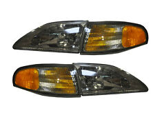 1994-1998 Mustang or Cobra Euro Smoked 4 Piece Headlight Set with Side Markers