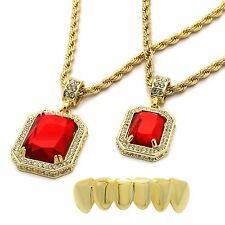 """Men's 14k Gold Plated 2 Pieces Ruby Set 4mm 30"""" & 24"""" Rope chains Bottom Grillz"""