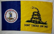 Don't Tread On Me Virginia Gadsden Flag 3' x 5' Gun Right USA Freedom Banner