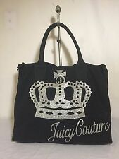 Juicy Couture Love Crystal Stud Canvas Beach Tote Shopper Shoulder Bag