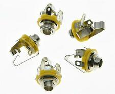 "5x Electric Guitar 1/4"" Stereo Jacks 6.35mm Stereo Jack Sockets Chrome!"