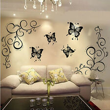 Home Kitchen Butterfly Vine DIY Removable Decal Art Mural Decor Wall Stickers