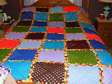 "Handmade Crochet Afghan Blanket Throw New 12"" Blocks Green Blue Red Purple"