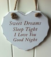 HEART PLAQUE SIGN 'SWEET DREAMS SLEEP TIGHT I LOVE YOU GOODNIGHT' LESSER PAVEY