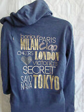 VICTORIA'S SECRET SUPERMODEL ESSENTIALS FLEECE GRAPHIC HOODIE SMALL ,NAVY  NWT