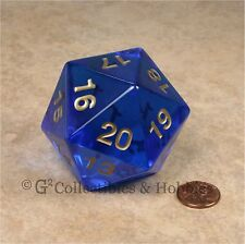 NEW 55mm Transparent Sapphire Blue Giant Jumbo D20 Life Counter Dice MTG RPG